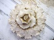 Vintage Finish White Back with White Flower