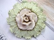 Vintage Finish Green Back with White Flower